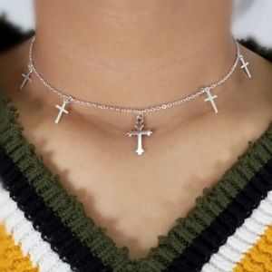 Silver Tone Cross Charm Choker Necklace Goth NEW